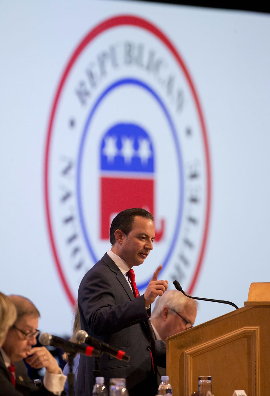 Republican National Committee (RNC) Chairman Reince Priebus speaks during the general session of the Republican National Committee Spring Meeting, Friday, April 22, 2016, in Hollywood, Fla. (AP Photo/Wilfredo Lee)