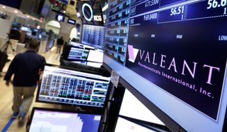 In this March 15, 2016, file photo, a trading post on the floor of the New York Stock Exchange displays the Valeant Pharmaceuticals logo. (AP Photo/Richard Drew)