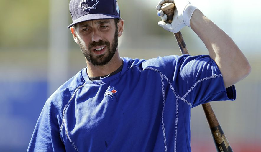 FILE - In this March 23, 2016, file photo, Toronto Blue Jays' Chris Colabello loosens up before a spring training baseball game against the New York Mets in Dunedin, Fla. Colabello has been suspended for 80 games without pay after testing positive for the same anabolic steroid that caused Philadelphia pitcher Daniel Stumpf to be disciplined last week, the commissioner's office, Friday, April 22, 2016. The substance, dehydrochlormethyltestosterone, is sold under the name Turinabol. (AP Photo/Chris O'Meara, File)