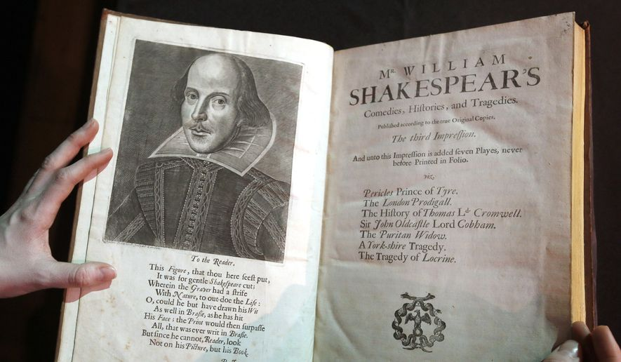 "In this March 16, 2016, file photo, a portrait of William Shakespeare is seen in the Third Folio, in London. William Shakespeare died 400 years ago Saturday, April 23, an anniversary marked across the ""sceptered isle"" and across the pond. (AP Photo/Kirsty Wigglesworth, File)"