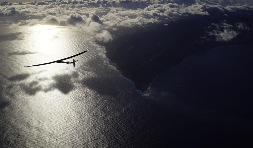 "In this photo provided by Solar Impulse, the solar powered plane, ""Solar Impulse 2,"" piloted by Bertrant Piccard of Switzerland, is seen in the air Thursday, April 21, 2016, after successfully taking off from Kalaeloa Airport, O'ahu, Hawaii, for a non-stop three day flight expected to cover about 3,760 kilometers (2,336 miles) to San Francisco. (Jean Revillard/Solar Impulse via AP)"