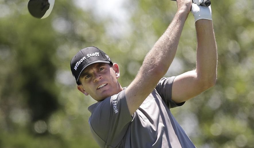 Brendan Steele watches his drive on the 15th tee during the second round of the Texas Open golf tournament, Friday, April 22, 2016, in San Antonio. (AP Photo/Eric Gay)