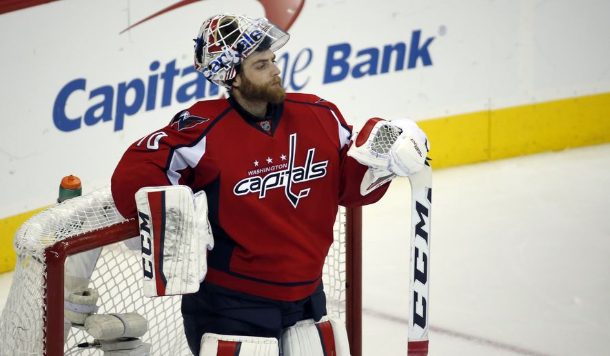Washington Capitals goalie Braden Holtby (70) pauses during the third period of Game 5 in the first round of the NHL Stanley Cup hockey playoffs against the Philadelphia Flyers, Friday, April 22, 2016, in Washington. The Flyers won 2-0. (AP Photo/Alex Brandon)
