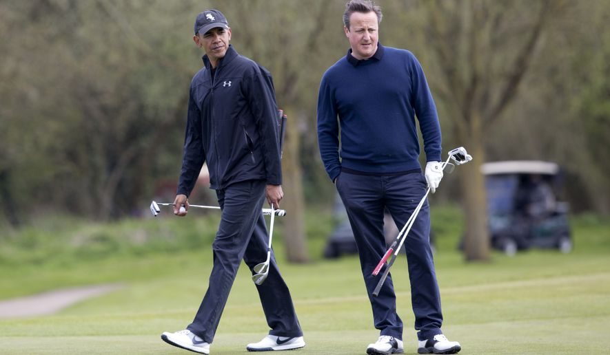 President Barack Obama and British Prime Minister David Cameron play the third green at the Grove Golf Course in Hertfordshire, England, Saturday, April 23, 2016. (AP Photo/Carolyn Kaster)