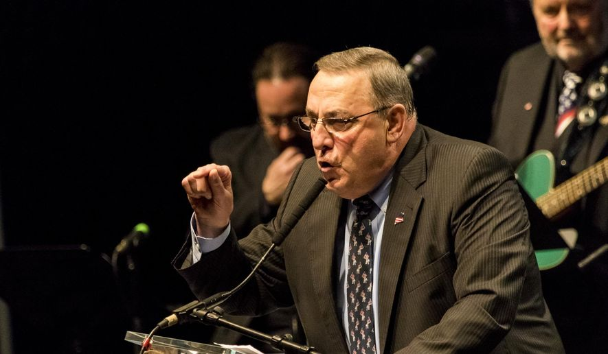 Maine Gov. Paul LePage delivers a keynote address at the Maine GOP convention in Bangor, Maine, Saturday, April 23, 2016. (Ben McCanna/Portland Press Herald via AP) ** FILE **