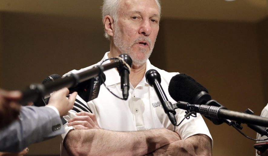 San Antonio Spurs head coach Gregg Popovich talks with reporters Saturday, April 23, 2016, in Memphis, Tenn. The Spurs lead their first-round NBA basketball playoff series with the Memphis Grizzlies 3-0. They are scheduled to play Game 4 Sunday. (AP Photo/Mark Humphrey)