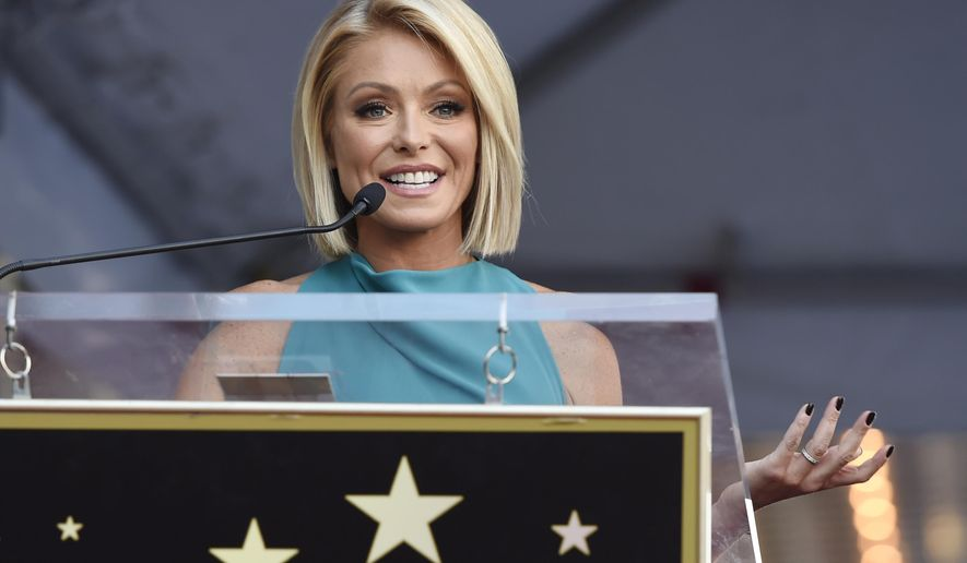 "FILE - In this Oct. 12, 2015 file photo,  Kelly Ripa addresses the crowd during a ceremony honoring her with a star on the Hollywood Walk of Fame  in Los Angeles. Ripa is returning to her daytime talk show, ending an absence that followed word her co-host, Michael Strahan, will join ""Good Morning America."" She will be back Tuesday, April 26, 2016 on ""Live With Kelly and Michael,"" she said in an email to the show's staff that was obtained by The Associated Press.(Photo by Chris Pizzello/Invision/AP)"