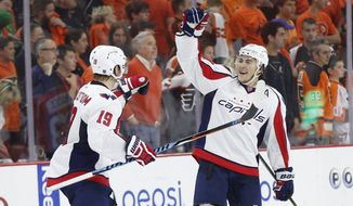 April 24, 2016: Washington Capitals right wing T.J. Oshie (77) celebrates the win with center Nicklas Backstrom (19) during the NHL playoffs game between the Washington Capitals and Philadelphia Flyers at Well Fargo Center in Philadelphia, Pennsylvania. The Washington Capitals won 1-0. They win the series 4-2. Christopher Szagola/CSM (Cal Sport Media via AP Images)
