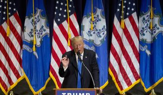 Republican presidential candidate Donald Trump speaks during a campaign rally in Bridgeport, Conn., Saturday, April 23, 2016. (AP Photo/Michael Dwyer)