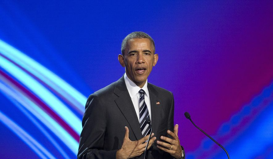 President Barack Obama speaks during the opening ceremony of the Hannover Messe Trade Fair in Hannover, Germany, Sunday, April 24, 2016. (AP Photo/Carolyn Kaster)