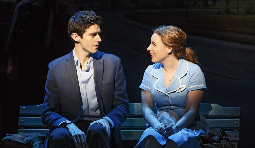 """This image released by Boneau/Bryan-Brown shows Drew Gehling, left, and Jessie Mueller during a performance of """"Waitress,"""" at the Brooks Atkinson Theatre in New York. (Joan Marcus/Boneau/Bryan-Brown via AP)"""