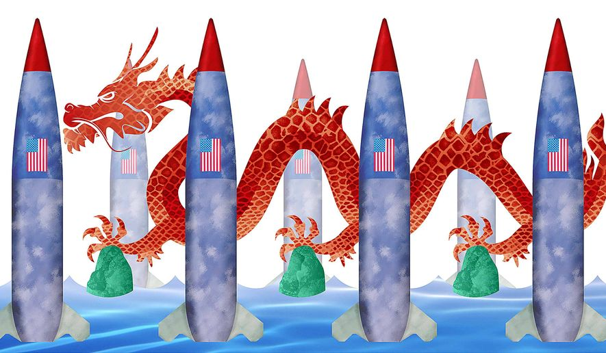 Wall of Missiles in South China Sea Illustration by Greg Groesch/The Washington Times