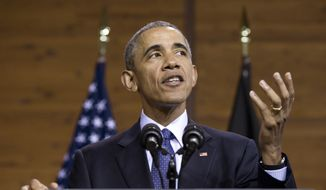 U.S President Barack Obama speaks at the Hannover Messe, the world's largest industrial technology trade fair, in Hannover, northern Germany, Monday April 25, 2016. Obama is on a two-day official visit to Germany. (AP Photo/Carolyn Kaster)