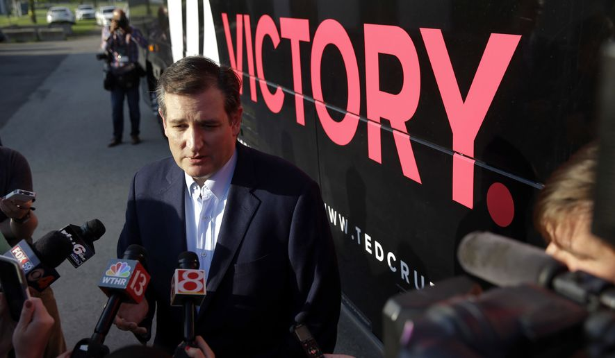 Republican presidential candidate Sen. Ted Cruz, R-Texas, takes questions from the media before a rally at the Johnson County Fairgrounds in Franklin, Ind., Monday, April 25, 2016. (AP Photo/Michael Conroy)