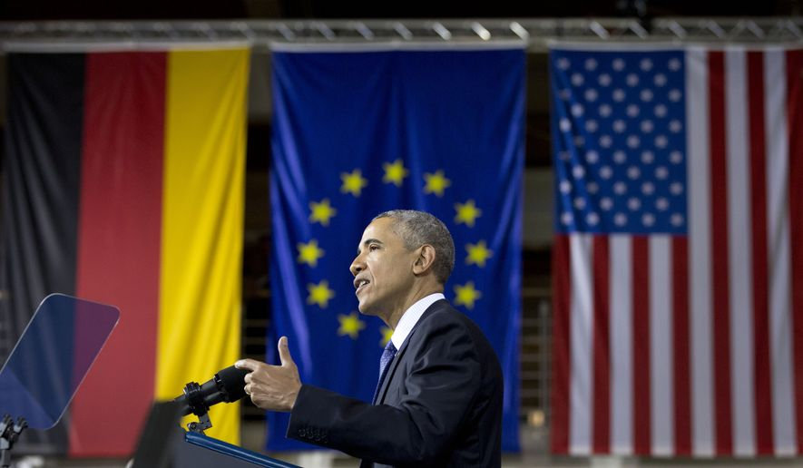 U.S President Barack Obama speaks in front of the flags of Germany, the European Union and the U.S at the Hannover Messe Trade Fair in Hannover, Germany, Monday April 25, 2016. Obama is on a two-day official visit to Germany. (AP Photo/Carolyn Kaster)