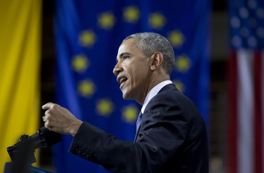 U.S President Barack Obama speaks in front of the European Union Flag at the Hannover Messe Trade Fair in Hannover, Germany, Monday April 25, 2016. Obama is on a two-day official visit to Germany. (AP Photo/Carolyn Kaster)