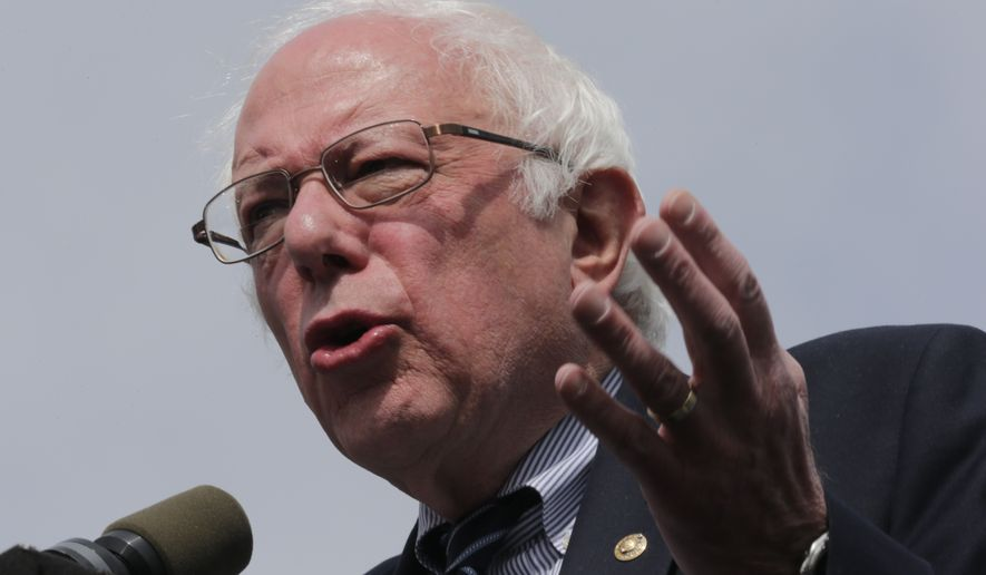 Democratic presidential candidate Sen. Bernie Sanders, I-Vt., during a campaign rally in Hartford, Conn., Monday, April 25, 2016. (AP Photo/Charles Krupa)