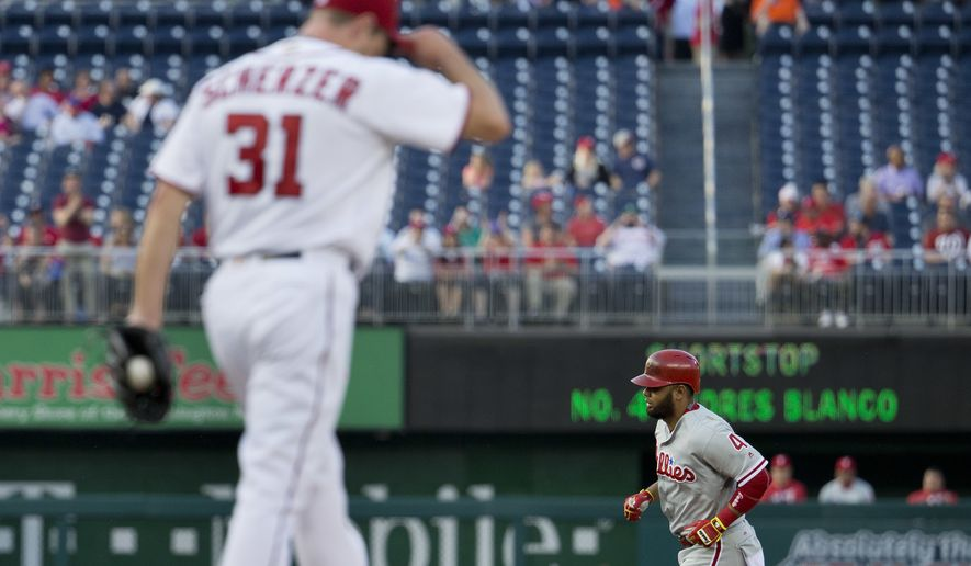 Philadelphia Phillies Andres Blanco (4) circles the bases after hitting a two-run homer off Washington Nationals starting pitcher Max Scherzer (31) during the first inning of a baseball game, Tuesday, April 26, 2016 in Washington. (AP Photo/Pablo Martinez Monsivais)