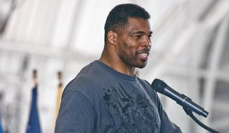 In this March 22, 2012, file photo, former NFL football player Herschel Walker speaks to airmen at Eglin Air Force Base, Fla. (AP Photo/Northwest Florida Daily News, Mark Kulaw, File)