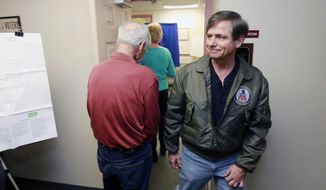 Former U.S. Rep. and candidate for U.S. Senate Joe Sestak leaves after voting at the Edgmont Township Municipal Building in Delaware County, Pa., Tuesday, April 26, 2016. He's one of the Democrats running for the nomination to challenge Republican incumbent Pat Toomey in November. (David Swanson/The Philadelphia Inquirer via AP)  PHIX OUT; TV OUT; MAGS OUT; NEWARK OUT; MANDATORY CREDIT