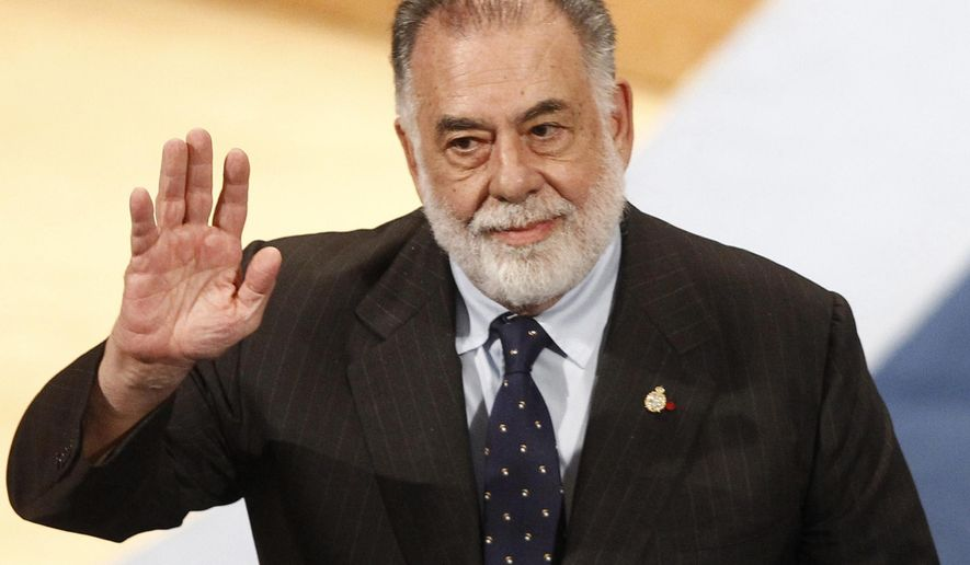 FILE - In this Oct. 23, 2015 file photo, filmmaker Francis Ford Coppola acknowledges applause after receiving the Princess of Asturias Arts award award from Spain's King Felipe VI at a ceremony in Oviedo, northern Spain. Coppola will be honored Friday, April 29, 2016, at the TCM Classic Film Festival.  (AP Photo/Jose Vicente, File)