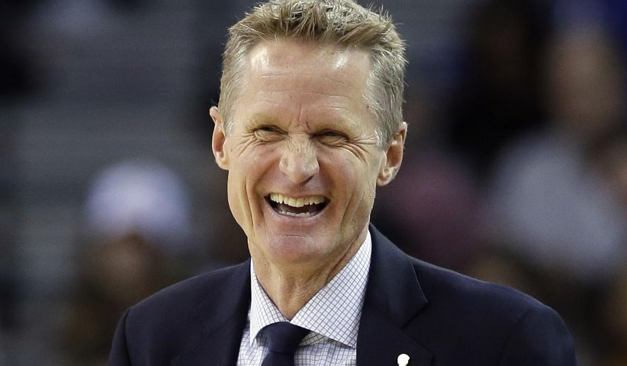 FILE - In this March 23, 2016 file photo, Golden State Warriors coach Steve Kerr smiles as his team plays the Los Angeles Clippers during the first half of an NBA basketball game, in Oakland, Calif. Steve Kerr is the NBA's coach of the year, after leading to the Golden State Warriors to the best regular season record in league history.  (AP Photo/Marcio Jose Sanchez, File)