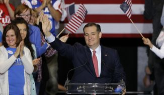Republican presidential candidate Sen. Ted Cruz, R-Texas, speaks during a rally in Indianapolis, Wednesday, April 27, 2016. (AP Photo/Michael Conroy)
