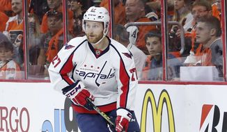 Washington Capitals' Karl Alzner in action during Game 3 in the first round of the NHL Stanley Cup hockey playoffs against the Philadelphia Flyers, Monday, April 18, 2016, in Philadelphia. Washington won 6-1. (AP Photo/Matt Slocum)