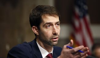 Sen. Tom Cotton, R-Ark. speaks on Capitol Hill in Washington.  (AP Photo/Alex Brandon)