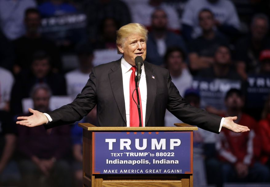 Republican presidential candidate Donald Trump speaks during a campaign stop Wednesday, April 27, 2016, in Indianapolis. (AP Photo/Darron Cummings)