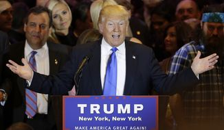 """FILE - In this Tuesday, April 26, 2016 file photo, Republican presidential candidate Donald Trump speaks during a primary night news conference, in New York. Trump's highly anticipated foreign policy speech will test whether the Republican presidential front-runner known for his raucous rallies and eyebrow-raising statements can present a more presidential persona as he works to coalesce a still-weary Republican establishment around his candidacy. Trump's campaign says his speech Wednesday will focus on """"several critical foreign policy issues"""" such as trade, the global economy and national security. (AP Photo/Julie Jacobson, File)"""