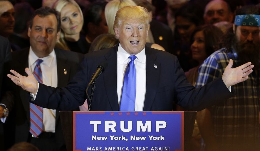 "FILE - In this Tuesday, April 26, 2016 file photo, Republican presidential candidate Donald Trump speaks during a primary night news conference, in New York. Trump's highly anticipated foreign policy speech will test whether the Republican presidential front-runner known for his raucous rallies and eyebrow-raising statements can present a more presidential persona as he works to coalesce a still-weary Republican establishment around his candidacy. Trump's campaign says his speech Wednesday will focus on ""several critical foreign policy issues"" such as trade, the global economy and national security. (AP Photo/Julie Jacobson, File)"
