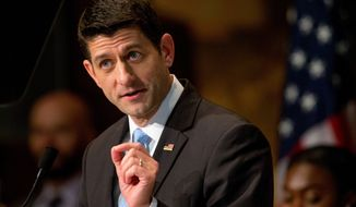 """House Speaker Paul Ryan of Wis., gives a speech titled """"Building a Confident America"""" Wednesday, April 27, 2016, at Gaston Hall at Georgetown University in Washington. (AP Photo/Andrew Harnik)"""