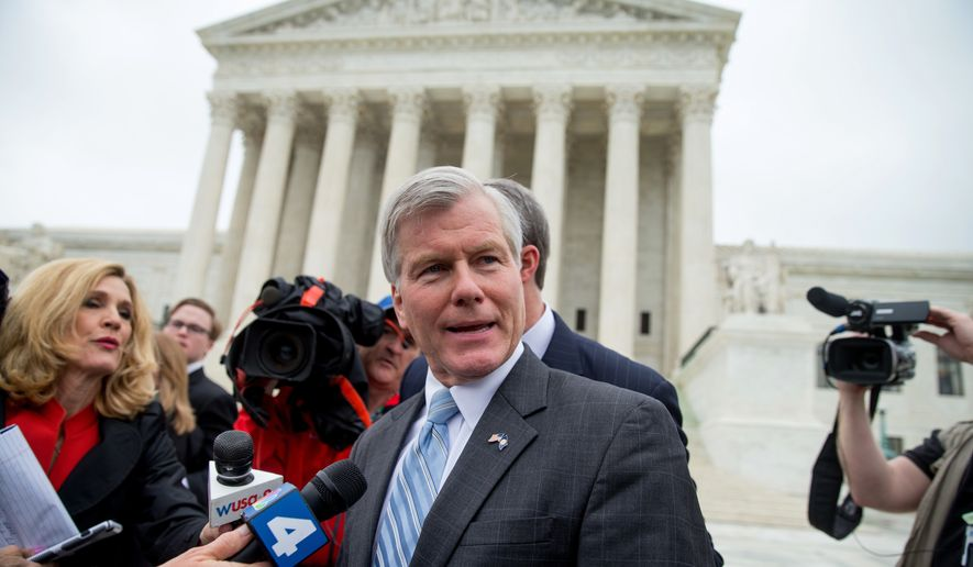 Former Virginia Gov. Bob McDonnell speaks outside the Supreme Court in Washington, Wednesday, April 27, 2016, after the Supreme Court heard oral arguments on the corruption case against McDonnell. (AP Photo/Andrew Harnik) ** FILE **