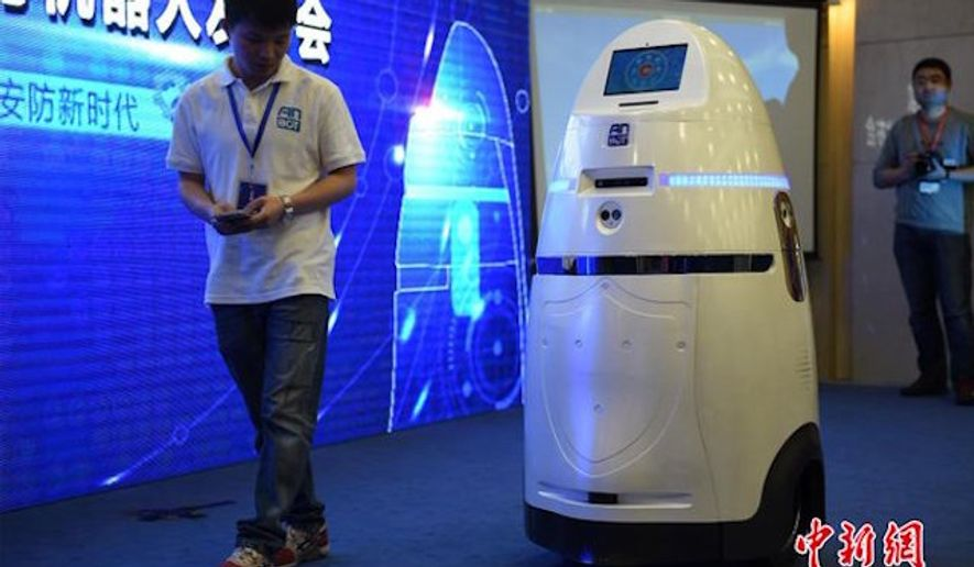"China has unveiled a first-of-its-kind crimefighting robot that deploys an ""electrically charged riot control tool"" in the face of security threats. (Twitter/@PDChina)"