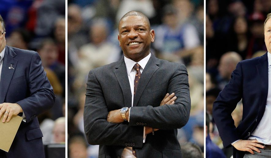 FILE - At left, in a March 26, 2016 file photo, Detroit Pistons head coach Stan Van Gundy watches from the sidelines during the second half of an NBA basketball game against the Atlanta Hawks in Auburn Hills, Mich. At center, in a March 30, 2016 file photo, Los Angeles Clippers head coach Doc Rivers smiles during the second half of a game against the Minnesota Timberwolves in Minneapolis. At right, in a March 26, 2016 file photo, Atlanta Hawks head coach Mike Budenholzer watches from the sidelines during the first half of a game against the Detroit Pistons, in Auburn Hills, Mich. Over the past four seasons, a mini trend has emerged in the NBA: more coaches are also getting final decision-making authority on the roster. All three coaches in that situation made the playoffs this season, and more are jockeying for that authority. (AP Photo/File)