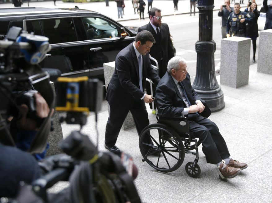 Former House Speaker Dennis Hastert arrives at the federal courthouse Wednesday, April 27, 2016, in Chicago, for his sentencing on federal banking charges which he pled guilty to last year. (AP Photo/Charles Rex Arbogast)