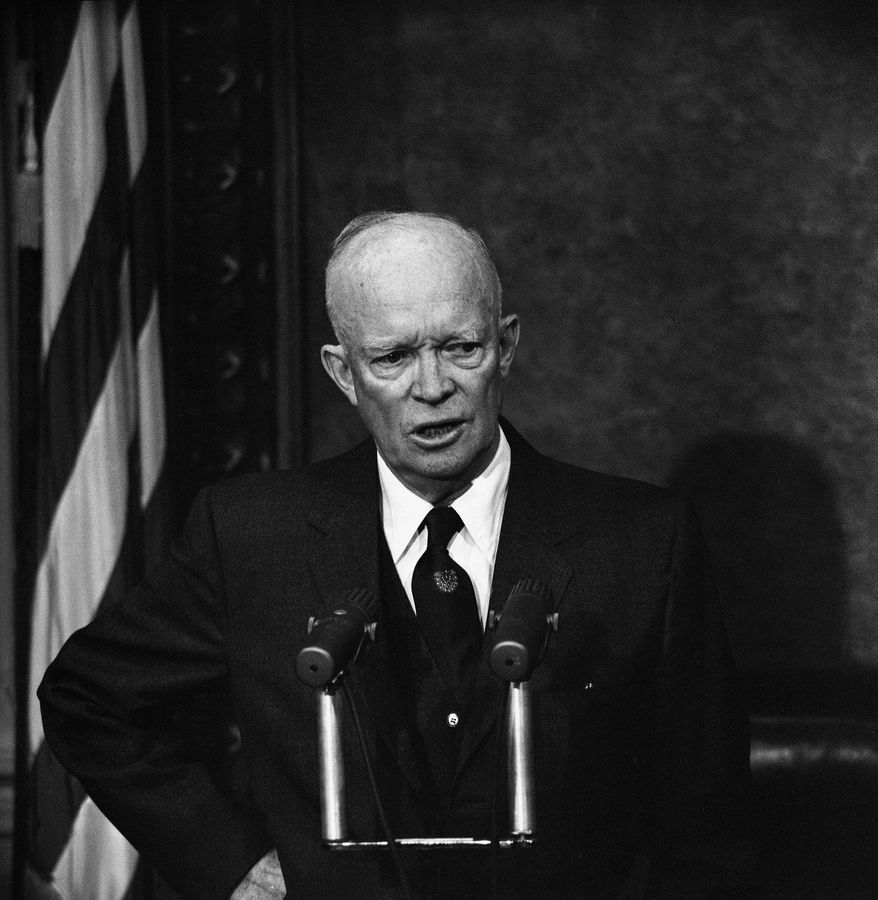 FILE - In this Dec. 10, 1958 file photo, President Dwight Eisenhower speaks during a news conference in Washington. A gay rights group sued the Justice Department on Wednesday, April 27, 2017, for failing to produce hundreds of pages of documents related to a 1953 order signed by President Dwight Eisenhower that empowered federal agencies to investigate and fire employees thought to be gay. (AP Photo/Bill Allen, File)