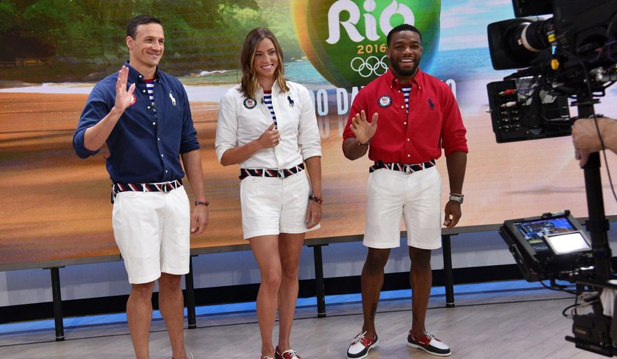 "In this image released by NBC, U.S. Olympic athletes, from left, Ryan Lochte, Haley Anderson and Jordan Burroughs, model Polo Ralph Lauren closing ceremony uniforms on the ""Today Show"" in New York, Wednesday, April 27, 2016. (Photo by: Bryan Bedder/NBC)"