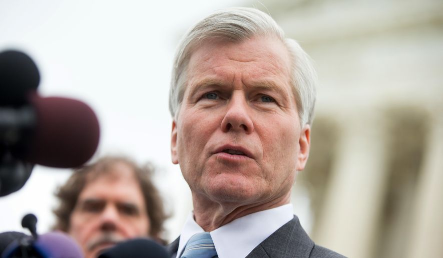 Former Virginia Gov. Bob McDonnell speaks outside the Supreme Court in Washington, Wednesday, April 27, 2016, after the Supreme Court heard oral arguments on the corruption case of McDonnell. The Supreme Court seems likely to overturn the conviction of McDonnell on political corruption charges and place new limits on the reach of federal bribery laws. (AP Photo/Andrew Harnik)