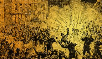 Artist's rendering of the Haymarket Square explosion.