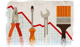 Decline of American GDP Illustration by Greg Groesch/The Washington Times