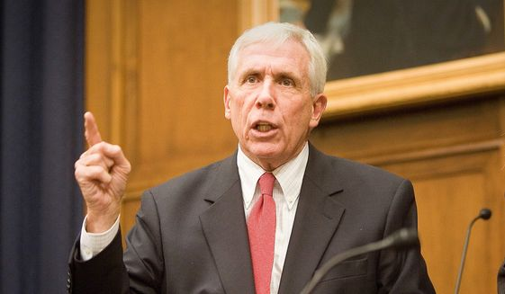 Rep. Frank R. Wolf, Virginia Republican, gestures during a news conference on Capitol Hill in Washington, Wednesday, Sept. 20, 2006 before the start of a House International Relations Committee meeting on the situation in Sudan. (AP Photo/Lawrence Jackson)