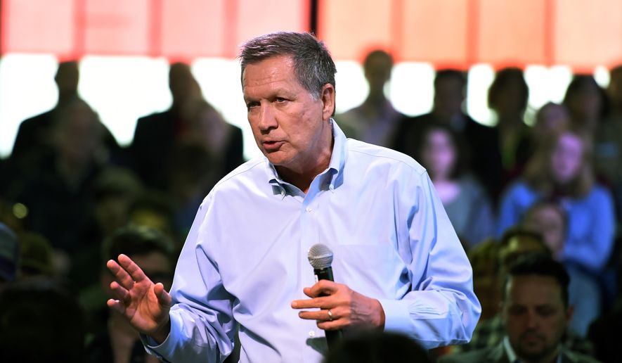 Republican presidential candidate Ohio Gov. John Kasich speaks at a town hall meeting in Portland, Ore., Thursday, April 28 , 2016. (AP Photo/Steve Dykes) ** FILE **