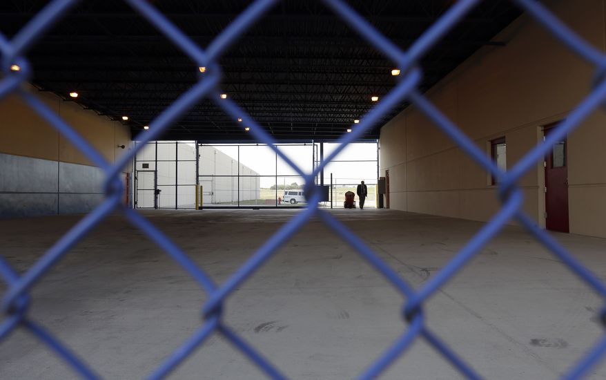 A secured entryway is seen at the Karnes County Residential Center in Karnes City, Texas. (Associated Press)