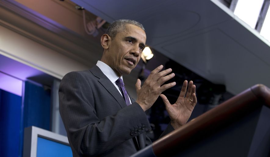 President Barack Obama speaks during a news conference with college students in the Brady Press Briefing Room in Washington, Thursday, April 28, 2016. (AP Photo/Carolyn Kaster)