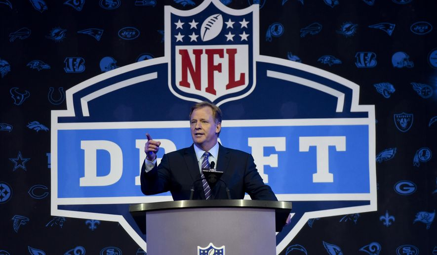 NFL Commissioner Roger Goodell opens up the 2016 NFL football draft at Selection Square in Grant Park, Thursday, April 28, 2016, in Chicago. (AP Photo/Matt Marton) **FILE**