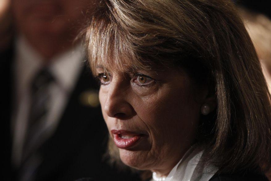 Rep. Jackie Speier, California Democrat, talks to reporters in Washington on Aug. 30, 2011. (Associated Press/FILE)