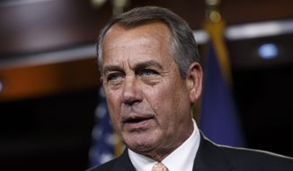 In this Feb. 26, 2015, file photo, then-House Speaker John Boehner of Ohio speaks during a news conference on Capitol Hill in Washington. Boehner's rhetorical takedown of Sen. Ted Cruz, a presidential candidate and fellow Republican, has popped the cork off a bottle bubbling with bitter GOP recriminations. (AP Photo/J. Scott Applewhite, File)