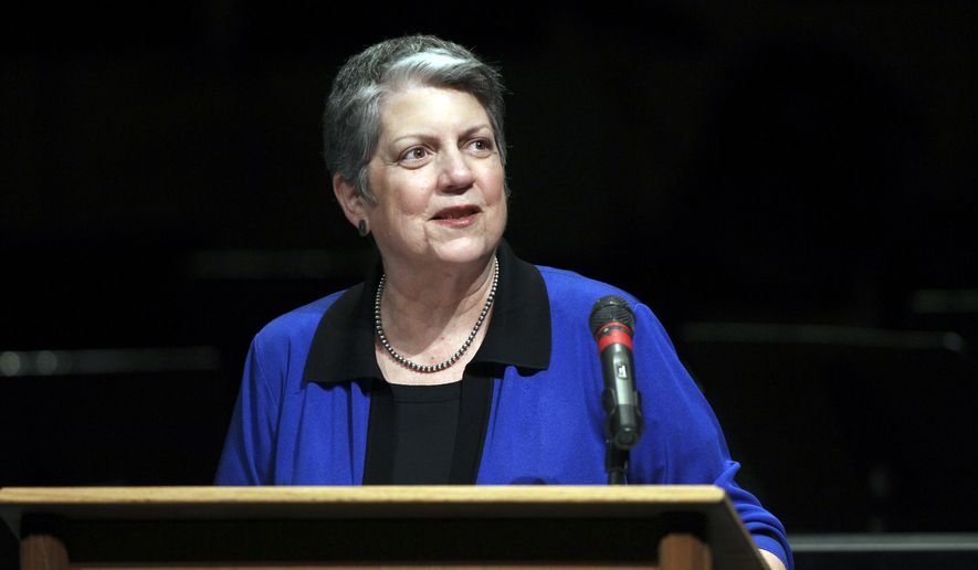 University of California President Janet Napolitano speaks April 29, 2016, at Shasta College in Redding, Calif. She was invited by the Shasta College and McConnell Foundations to talk about plans to add more than 10,000 California students to the UC system. (Greg Barnette(/The Record Searchlight via AP) **FILE**
